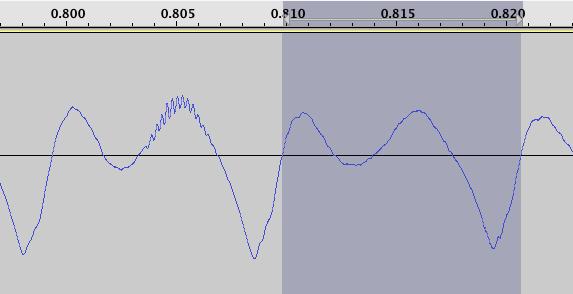 コピー元波形の範囲を指定したAudacity画面
