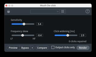 RX Mouse De-clickウィンドウ